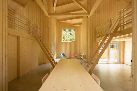 Modern wooden home interiors Stock Photo