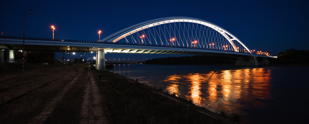 Apollo bridge on Danube river by night Stok Fotoğraf