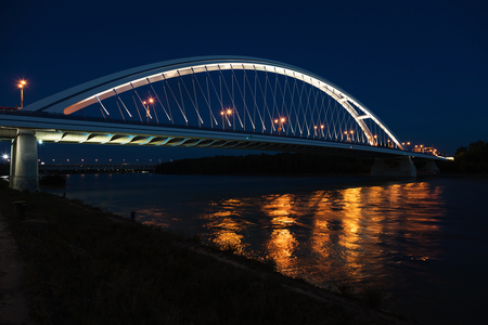 Apollo bridge on Danube river by night Archivio Fotografico