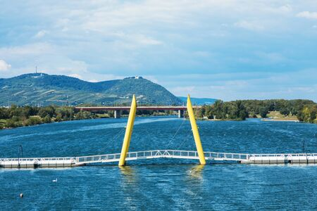 Yellow bridge over danube river in Wien Archivio Fotografico