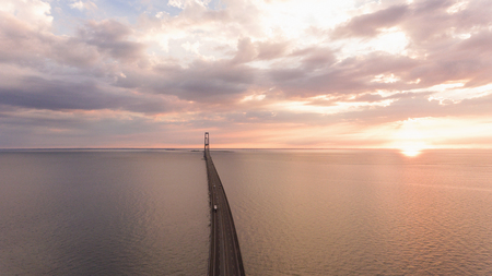 Bridge in denmark at the sunset. Aerial View