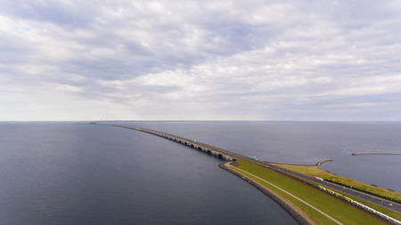 View from above  of Great Belt in Denmark. Cloudy day Archivio Fotografico