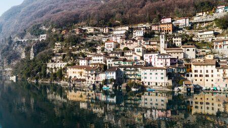 Landscape of Lake Lugano, Gandria Standard-Bild