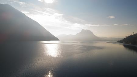 Landscape of Lake Lugano, fog Standard-Bild