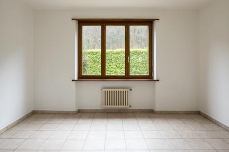 Empty room and window overlooking the garden. Detail