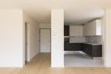 View of kitchen with large open space, corridor. Nobody inside Stock Photo