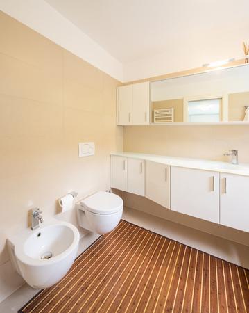 Elegant bathroom with large sink and mirror. Nobody inside Archivio Fotografico