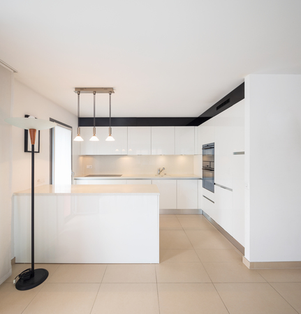 Elegant modern white kitchen in apartment. Nobody inside, copy space