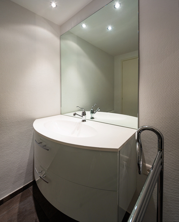 Minimalist modern white bathroom. Nobody inside Archivio Fotografico