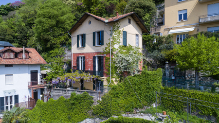 aerial view of a vintage chalet in the hills of Lake Como