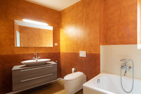 Bathroom with modern finishes and orange walls. Nobody inside