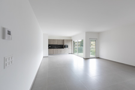 Large living room and completely white kitchen in a modern open space. Nobody inside Standard-Bild - 103062317