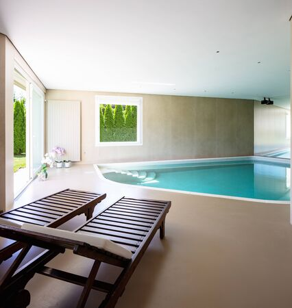 Indoor pool in modern villa just renovated. Nobody inside