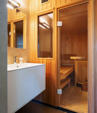 Bathroom with private sauna. Nobody inside Imagens