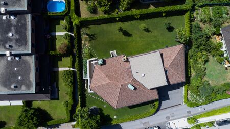Aerial view of modern villa with large garden. Nobody inside Banco de Imagens