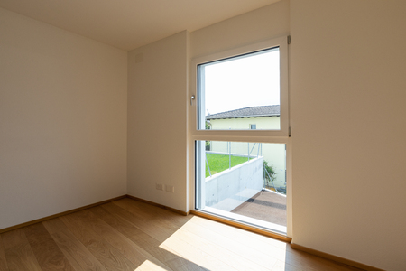 Empty white room with window with view, concept. Nobody inside 写真素材