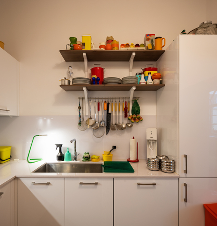 Modern kitchen in a renovated building. Nobody inside