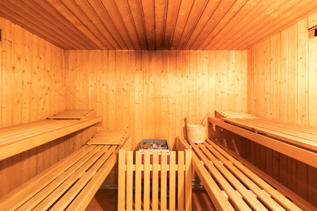 Frontal view of ptivate sauna. nobody inside
