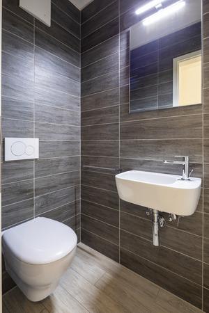Bathroom with elegant minimalist brown tiles. Nobody inside Standard-Bild - 114299945