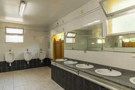 Dirty public bathroom in Portugal. Nobody inside