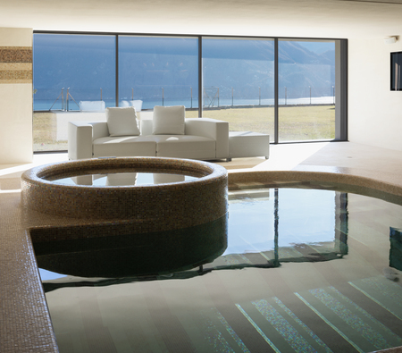 Indoor pool of private villa with lake view and bar area. Nobody inside