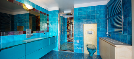 Blue bathroom with shower and big mirror. No one inside