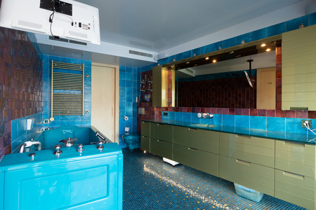 Blue bathroom with Jacuzzi and television. No one inside