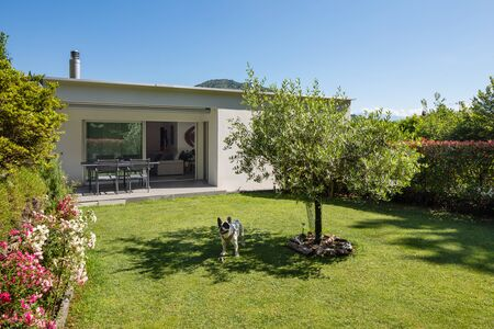 Small house for a happy family living in Switzerland. The garden is green Stockfoto