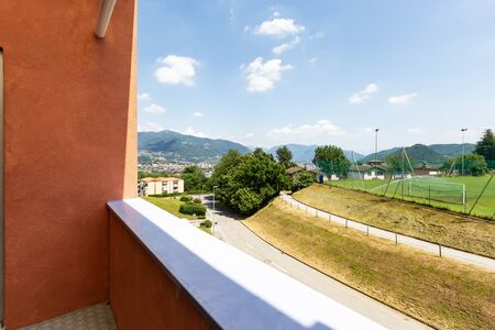 Exterior, apartment balcony with a view of Swiss nature. Nobody inside Banco de Imagens