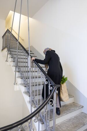 Elderly lady climbs the stairs with the bag heavy with market spending. We see the vegetables coming out. Poor woman, she suffers Banco de Imagens