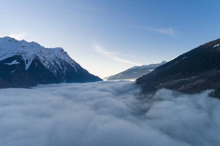Aerial view with drone of a mountain in Campo Blenio. Ticino Switzerland