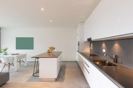 Interior of a kitchen of a modern apartment. Nobody inside. Standard-Bild