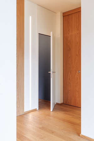 Corridor detail with door and led strip. Minimal apartment. Nobody inside. Concept Banco de Imagens - 157019725