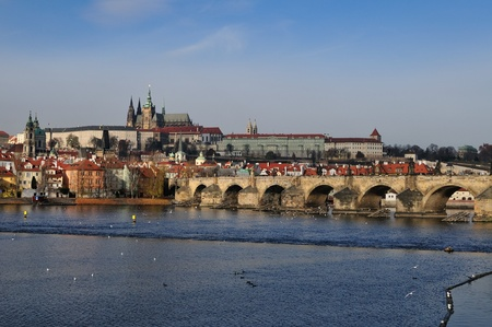 sight on the charles bridge and the prague castle photo