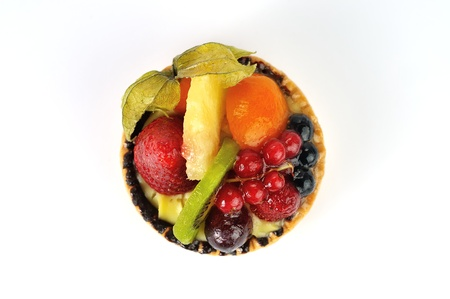 fruit tarte on white background from the top photo