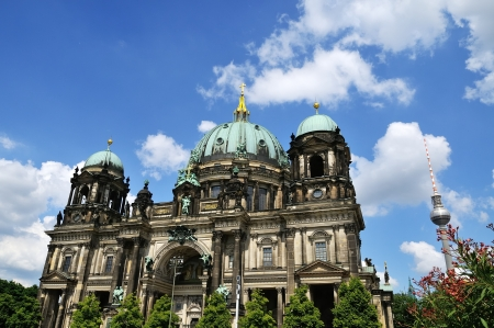 berlin cathedral and television tower in the summer photo