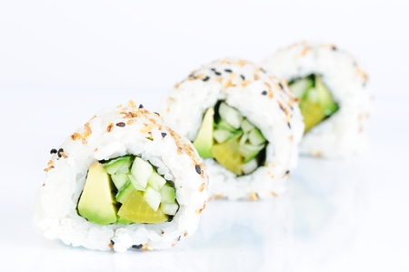 some vegetarian inside out rolls  photo