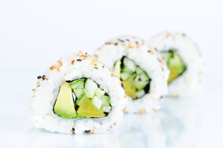 three vegetarian inside out rolls  photo