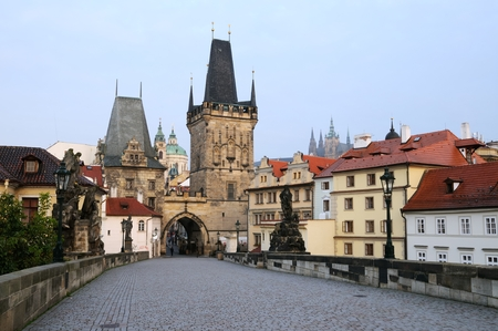 morning at the charles bridge in prague photo
