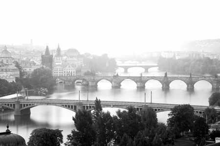 prague in monochrom early in the morning with fog photo
