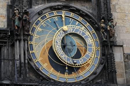 very old prague astronomical clock with apostels