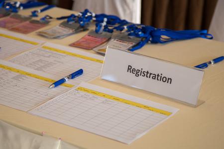 Conferencia mostrador de inscripción Foto de archivo