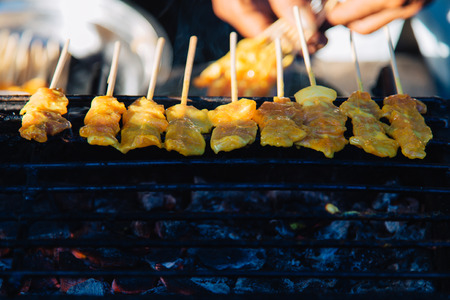 Pork Satay, Grilled curry pork Zdjęcie Seryjne