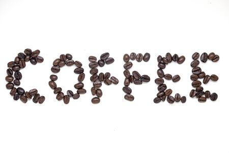 Coffee beans making a word