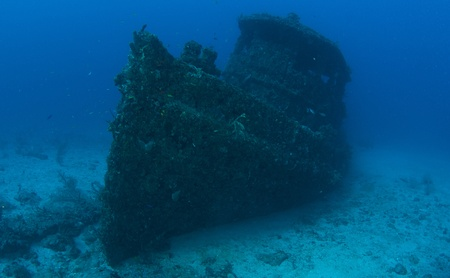 Small Tugboat sunk as an artificial reef, picture taken in Broward County Florida. photo