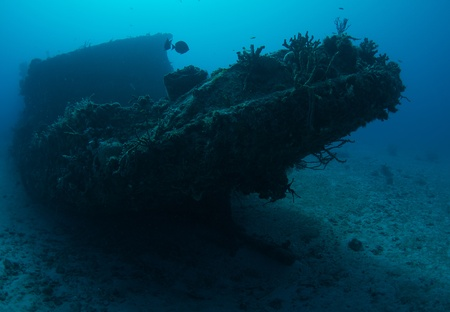 ship wreck: Small Tugboat sunk as an artificial reef, picture taken in Broward County Florida. Stock Photo