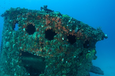 Wheelhouse of an artificial reef named the Ancient Mariner.  In the waters off Deerfield Beach, Florida. photo