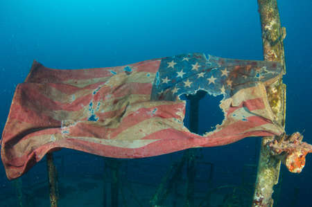 American Flag on an artificial reef, picture taken in south east Florida. photo