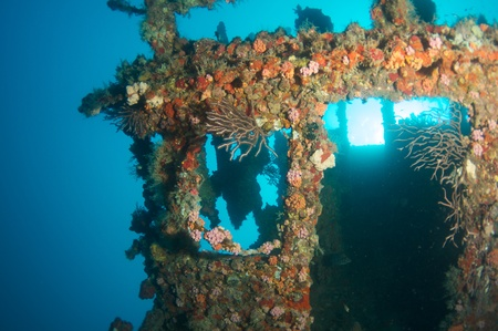 wheelhouse: Wheelhouse of an artificial reef named the United Caribbean.  In the waters off Deerfield Beach, Florida. Stock Photo