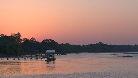 Sunrise over a river in the low country of South Carolina.